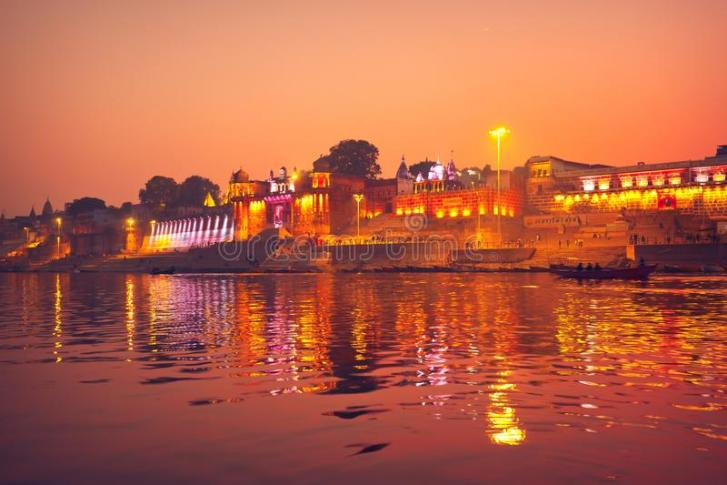 people-walk-along-ghats-ganges-river-night-varanasi-uttar-pradesh-india-137824005