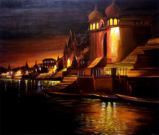 VARANASI-GHAT-AT-SILENT-NIGHT