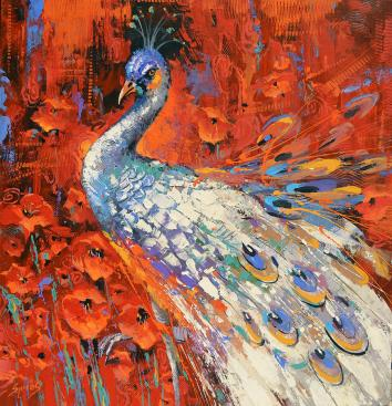 white-peacock-and-poppies-dmitry-spiros