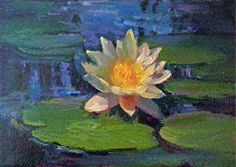 """DB# 101412 - 5"""" x 7"""" Oil on Utrecht Archival Canvas Panel The last of 7 water lily paintings I did in June at The Festival Theatre's garden in Stratford, Ontario."""