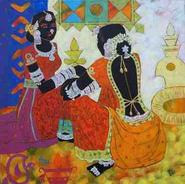 Ethnic-Serendipity-Friends-at-market-place-Kutch-Gujarat-_-Acrylic-on-canvas-_-24-x-24-inches-_-1425