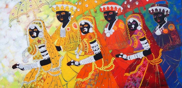 Eyemage+Gallery_Anuradha+Thakur_Ethenic+Serendipity_Acrylic+on+canvas_+48''x24''-2017-+4125+SGD